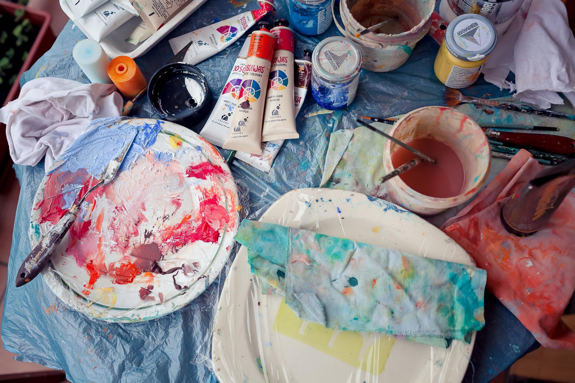 Warsztat pracy malarki