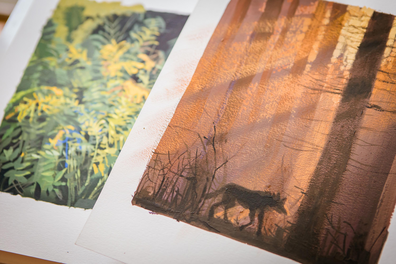 Wilczek Ambaras - oryginał malowany gwaszem na papierze.