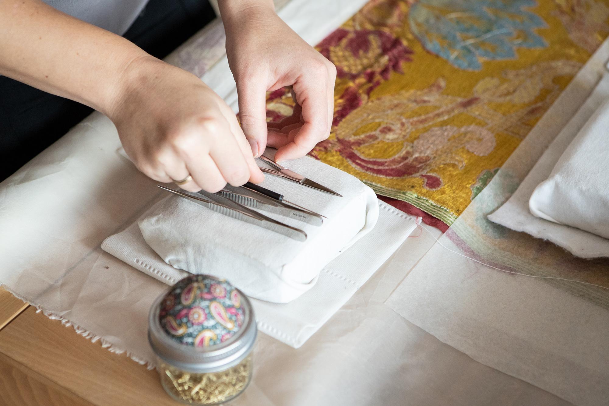 Work tools of an art conservator.