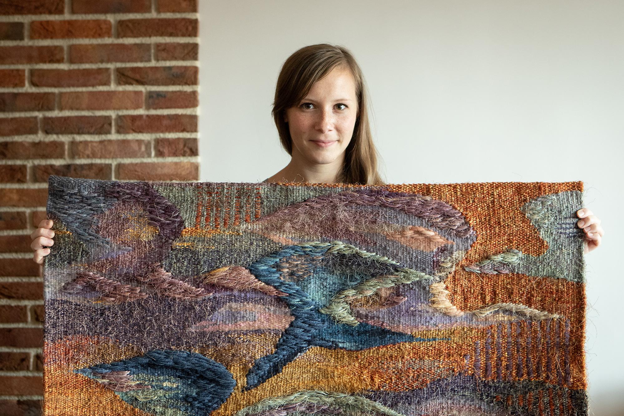 Birds - modern fabric (linen, wool, sisal) by Magda.