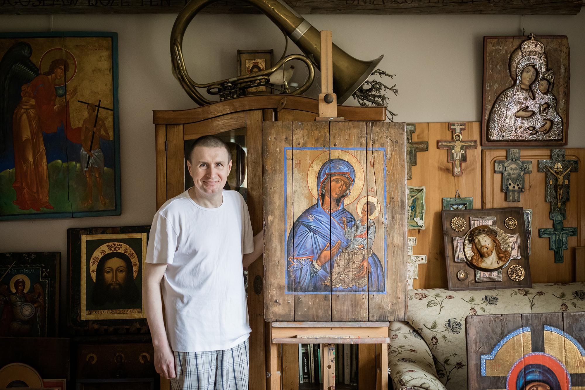Robert Rumin w swoim domu w Jamnicy.